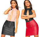 Womens Faux Leather Wet Look Tie Up Front Zip Fasten Mini Micro Skirt Ladies New