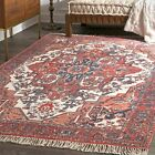 nuLOOM Handmade Traditional Natural Wool and Cotton Blend Area Rug in Rust