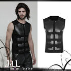 punk visual rock gladiator leatherette chest armour Sleeveless tshirt【JPWT515】