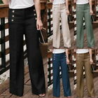 New Womens Cotton Linen Wide Leg Pants Pure Color High Waist Breathable Trousers