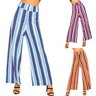 Womens Elasticated Striped Wide Leg Stretch Flared Palazzo Trousers Ladies New