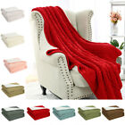 Soft Warm Knitted Throw Blanket Faux Sheepskin Reversible Cable Knit Blanket image