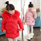 Внешний вид - Kids Girls Winter Thick Cotton Down Jacket Hooded Quilted Padded Warm Coat Parka