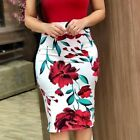 US Fashion Women's Round Neck Short Sleeve Casual Bodycon Floral Mini Dress Tops