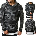 US STOCK Fashion Mens Camo CasualSweatshirts Hooded Hoodie Slim Fleeces GIFT