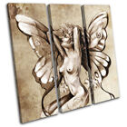 Nude Fairy Sprite Sexy Painting  Erotic TREBLE CANVAS WALL ART Picture Print