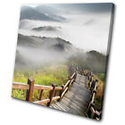 Misty Bridge Walk Mountain  Landscapes SINGLE CANVAS WALL ART Picture Print