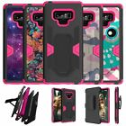For Samsung Galaxy Note 9 SM-N960 Pink Silicone Holster and Kickstand Case