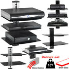 1 2 3 Tier Black Glass Floating Wall Mount Shelf DVD Player Sky Box Game Console