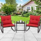 3pcs Patio Garden Rattan Wicker Furniture Set Table Rocking Chairs With Cushion