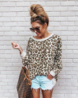 USA Womens Long Sleeve Leopard Print T-Shirt Ladies Casual Tops Blouse Jumpers