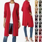 TheMogan S~3X Boyfriend Relaxed Fit Pocket Open Front Sweater Knit Long Cardigan