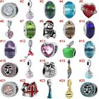 European Silver Heart Charms Crystal Bead Xmas Pendant Fit 925 Sterling Bracelet image