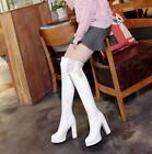 Womens Block High Heels Platform Lace Over Knee Thigh Boots Side Zip Knight V123