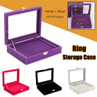 Jewelry Velvet Wood Ring Display Organizer Case Tray Holder Earring Storage Box