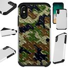 FusionGuard For iPhone 6/7/8 PLUS/X/XR/XS Max Phone Case CAMO CROSSHATCH GRN BRN