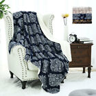Soft Plush Floral Paint Fleece Blanket Warm Reversible Blankets Throw Twin Size image