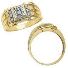 0.15 Carat White Diamond Designer Cluster Mens Anniversary Ring 14K Yellow Gold