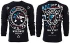 AMERICAN FIGHTER Mens LONG SLEEVE T-Shirt SILVER LAKE PATRIOT Black USA FLAG $54 image