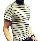 LOGEEYAR Mens Summer Short Sleeve Slim Fit Contrast Color Stitching Stripe Polo