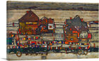 ARTCANVAS Houses with Laundry Canvas Art Print by Egon Schiele