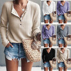 Women Knit Sweater Jumper Long Sleeve V Neck Button Pullover Tops Casual Shirts