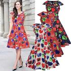 Womens Retro 50s Rockabilly Vintage Print Evening Party Casual Swing Dress 14 16