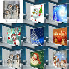 Christmas Home Bathroom Waterproof Polyester Shower Curtain Set
