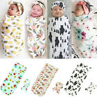 Newborn Infant Baby Swaddle Blanket Sleeping Swaddle Muslin Wrap Headband KI