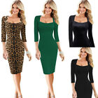 Womens Sexy Elegant Square Neck Work Business Office Party Bodycon Sheath Dress