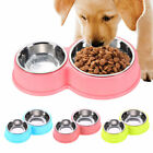 Dish Dog Bowls Twin Non slip 2 In 1 Dual Feeding Container Stainless Steel Cat