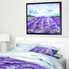 Designart 'Lavender Fields Watercolor' Landscape Framed Canvas Art Print