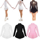 Внешний вид - Kids Girls Ice Skating Dress Long Sleeve Leotard Figure Roller Skating Costume