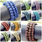 "Handmade Stone Lava Round Bead Bracelet Elastic Stretch Bangle 6mm 8mm 10mm 7.5"" image"