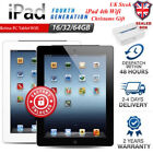 APPLE iPad 4th Gen Black White 16 32 64GB Retina PC Tablet WiFi Only UNLOCKED XS