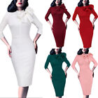 Womens Celebrity Vintage Pinup Bow Evening Cocktail Party Bodycon Sheath Dress