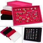 Earring Ring Jewelry Display Velvet Ring Tray Organizer Holder Storage Show Case