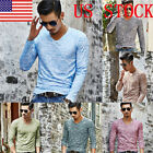 US Men Fashion Long Sleeve Camo Casual Basic Tee Autumn Slim Tops Blouse GIFT