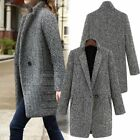 Womens Lapel Wool Cashmere Coat Trench Jacket Long Parka Overcoat Loose Outwear