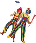 Couples Ladies AND Men Rainbow Clown Circus Fancy Dress Costume Outfit Dungarees