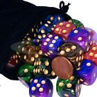 Selection of (5) 16mm Dice Pearlized Round Cornered with Velvet Pouch Sets