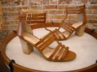 Sole Society Elise Brown Leather Gladiator Block Heel Sandals NEW