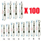 Wholesale 100pcs Barrel Swivel Safety Snap Solid Rings Fishing Tackle Connector