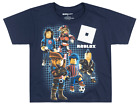 BOYS ROBLOX CHARACTERS T-SHIRT GLOW IN THE DARK VIDEO GAME KIDS YOUTH TEE NAVY