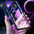 For Samsung Galaxy A7 A9 A8 J4 J6 Plus 2018 Magnetic Metal Case+Temper Glass