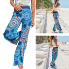Summer Ladies Floral Loose Boho Wide Leg Long Pants Palazzo Trousers Yoga Pants