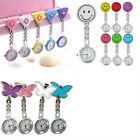 Women Butterfly Smile Face Quartz Clip-On Brooch Nurse Hanging Pocket Watch Chic