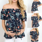 Внешний вид - Women Short Sleeve Tops Pregnancy Off Shoulder Floral T-Shirt Maternity Beach