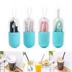 Silicone Collapsible Drinking Straw Stainless Reusable Travel Outdoor Straws Set