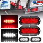 "2 x 6"" Oval Trailer Truck Stop Turn Tail Brake Lights grommet Mount 10-LED Boat"